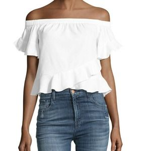 BCBGMAXAZRIA Trixy Off-the-Shoulder Ruffled Top